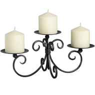 Brushed  Silver  3  Candle  Holder