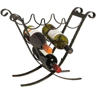 Six  Bottle  Decorative  Black  Wine  Rack