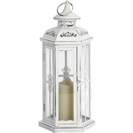 Tall  Antique  White  Lantern