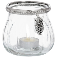 Large  Owl  Glass  Tea  Light  Votive