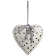 Hanging  White  Metal  Heart
