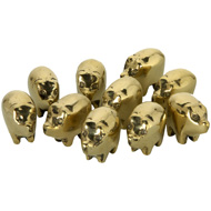 Pack Of 10 Mini Solid Brass Good Luck Pigs