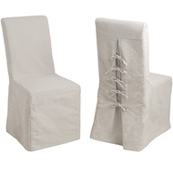 Pair  Of  Tie  Back  Linen  Dining  Chairs
