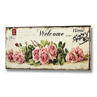 Floral  Welcome  To  Our  Home  Canvas