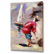 Boy  Playing  With  Boat  Canvas