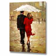Couple  In  The  Rain  Canvas