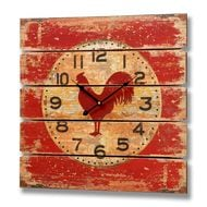 Red  Wooden  Cockeral  Clock