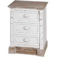 New England Three Drawer Bedside Table