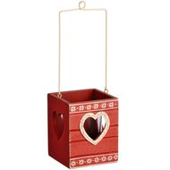 Wooden  Red  Tea  Light  Holder