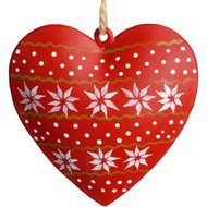 Snowflake  Red  Heart  Decoration