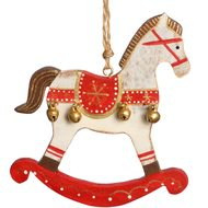 Wooden  Cream  Horse  Hanging  Decoration