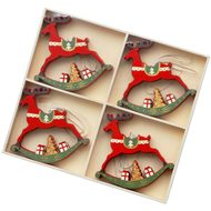Set  Of  12  Red  Reindeer  Decorations