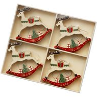 Set  Of  12  Cream  Reindeer  Hanging  Decorations