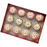 Set of 12 Cream Red & Green Bell Hanging Decorations