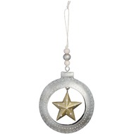 Silver  Circle  With  Gold  Star  Christmas  Decoration