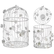 Shabby  Chic  Bird  Cages  With  Flowers  -  White  (set  Of  2)
