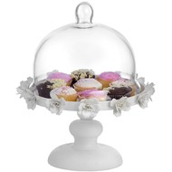 Antique cream floral cake stand with glass cloche