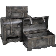 Set of three dome topped antique-effect trunks