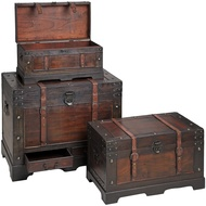 Set of flat topped antique-effect trunks with straps