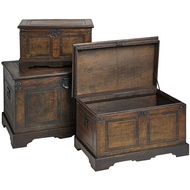 Set  Of  Flat  Topped  Antique-effect  Trunks