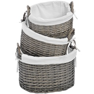 Set of Three Lined Wicker Baskets
