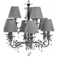 Ten  Lamp  Chandelier  With  Shades  And  Crystals