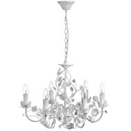 Cream  Six  Lamp  Leafy  Chandelier