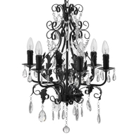Matt  Black  Chandelier  With  Crystals