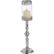 Silver  Effect  Candlestick  With  Glass  Votive