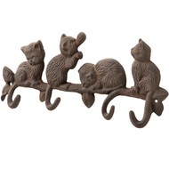 Antique  Brown  Cast  Iron  Cat  Hook