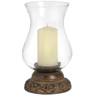 Hand  Carved  Hurricane  Lamp  With  Glass  Shade