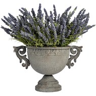 Ornate  Antique  Metal  Urn  Planter  With  Handles  -  Large