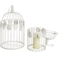 Set  Of  Two  Cream  Birdcages  With  Rose  Design