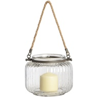 Glass ribbed jar with jute handle - 15cm