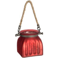 Small silver red glass jar with jute handle
