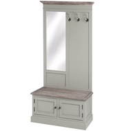 Lyon  Grey  Hall  Cabinet  With  Mirror  &  Hooks