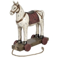 Polyresin Woodcut Horse with Wheels