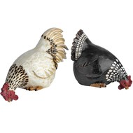 "Set of two 7.5"" hen & rooster shelf sitters(black and white)"