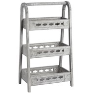 Grey washed wooden A-frame shelf unit with three shelves
