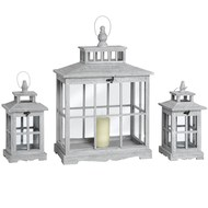 Set of Three Grey Washed Square Lanterns