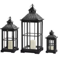 Black wooden and metal marrakech lantern