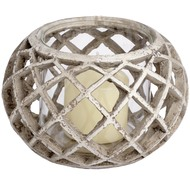 Woven  Glass  Tea  Light  Holder  -  Large