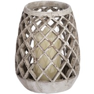 Woven  Conical  Glass  Tea  Light  Holder  -  Small  (82-0238)