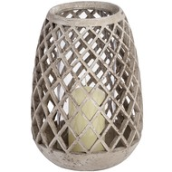 Woven  Conical  Glass  Tea  Light  Holder  -  Large  (82-0239)