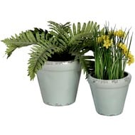 Set  Of  Two  Rustic  Cream  Plant  Pots  (hom-558)