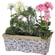 Blue  And  White  Floral  Ceramic  Planter