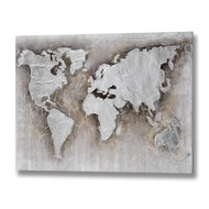 Embossed World Map canvas