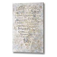 Textured  Heart  With  Words  Canvas