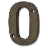 Rustic Brown Cast Iron Number '0'