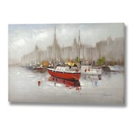 Red boat hand painted canvas